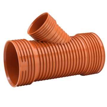 Uponor Ultra Rib2/Double kloakgrenrør 450 x 200 mm 45° Tætningsring medfølgere ikke.