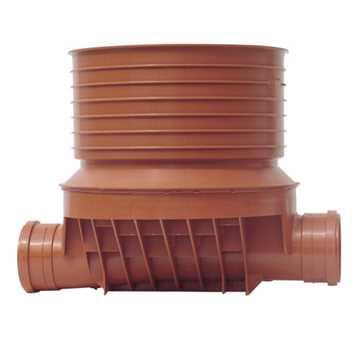 Uponor rense og inspektionsbrønd  for 315 mm opføring i 160 mm lige - type 1 i PP. Til glat, ribbet