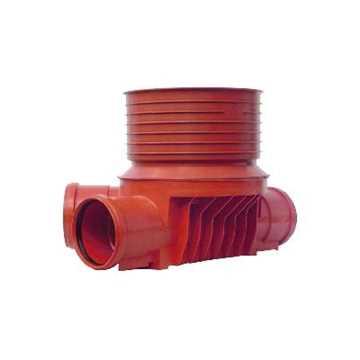 Uponor rense og inspektionsbrønd for 315 mm opføringsrør til 200 mm højre tilløb -type 4 i PP. Til g