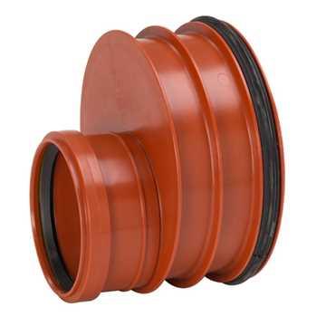 Uponor Ultra Rib2/Double kloakreduktion 200 x 110 mm. Med påsat tætningsring til glat spidsende.