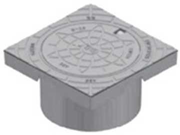 BB Karm og dæksel i 425 mm med låsearme i GG 20 Gråjern. Tåler op til 12,5 tons belastning.